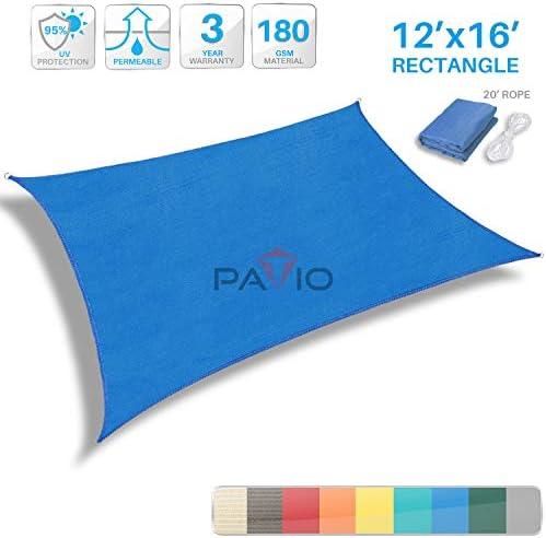 Patio 12 x 16 Blue Sun Shade Sail Rectangle Canopy – Permeable UV Block Fabric Durable Outdoor – Customized Available