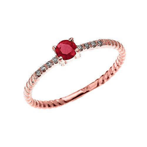 Bague Femme/ Bague De Fiançailles 14 Ct Or Rose Solitaire Rubis Et Diamant Conception De Corde
