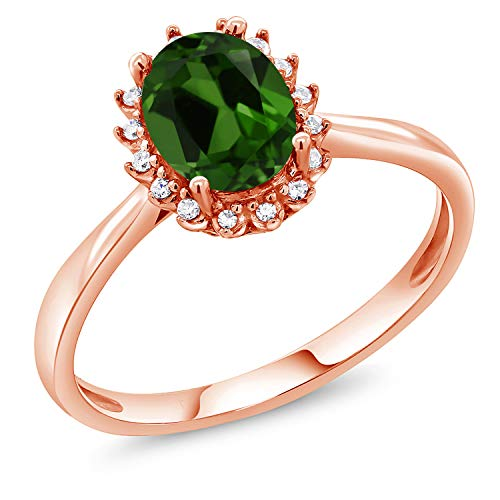 (1.20 Ct Oval Green Chrome Diopside 10K Rose Gold Ring with Diamond Accent (Size)