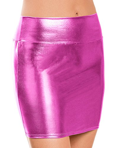 Appcome Women's Shiny Metallic Liquid Wet Look Short Mini Skirt Hot Pink (Hot Pink Pencil Skirt compare prices)