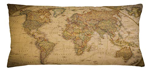 Old Map Decorative - Lunarable World Map Throw Pillow Cushion Cover, Anthique Old World Map in Retro Colors Vintage Nostalgic Design Art Print, Decorative Accent Pillow Case, 36 X 16 Inches, Cream Pale Coffee