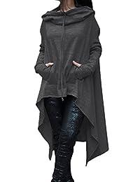 Women Plus Size Casual Pullover High Low Asymmetric Hoodies Sweater Sweatshirts