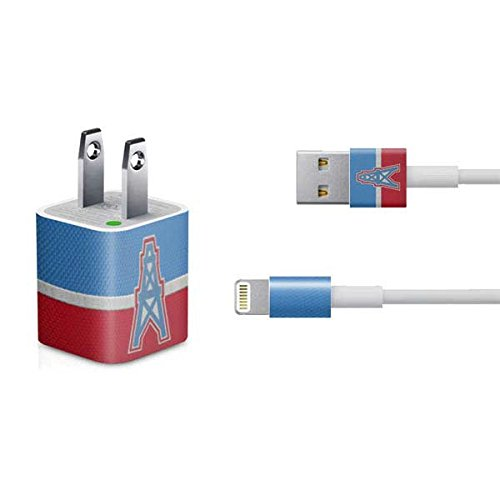 Skinit Houston Oilers Vintage iPhone Charger (5W USB) Skin - Officially Licensed NFL Decal Sticker - Ultra Thin, Lightweight Vinyl Decal Protective Wrap