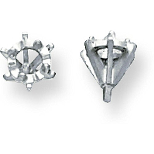 (14K White Gold 6 Prong Round Low Peg Illusion Head)