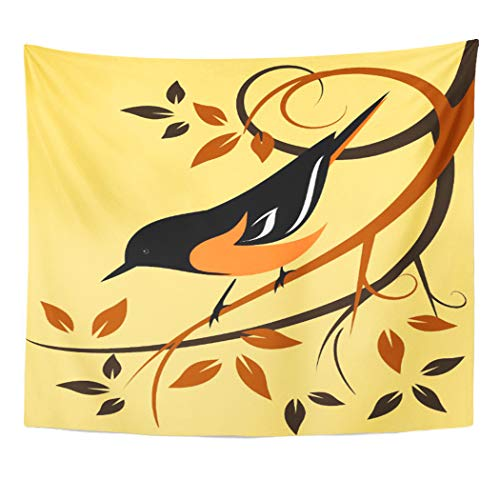 Semtomn Tapestry Artwork Wall Hanging Orange Birds Baltimore Oriole Animals Swirls Wildlife Autumn Colors 60x80 Inches Tapestries Mattress Tablecloth Curtain Home Decor Print