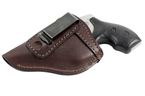 (The Defender Leather IWB Holster - Fits Most J Frame Revolvers Incl. Ruger LCR, S&W 442/642, Taurus, Charter & Most .38 Special Revolvers - Made in USA - Brown - Left Handed)