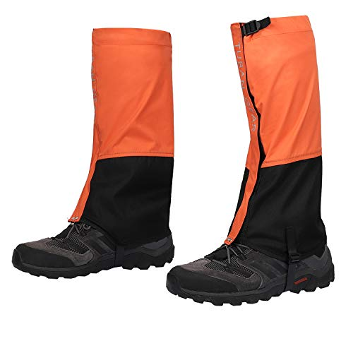 IOUTDOOR Snow Boot Gaiters Leg Gaiters Breathable Waterproof Walking High Leg Cover 500D Anti-Tear Oxford Cloth for Outdoor Hiking Climbing Fishing Hunting Trimming Grass (Orange) (Best Walking Boot Gaiters)