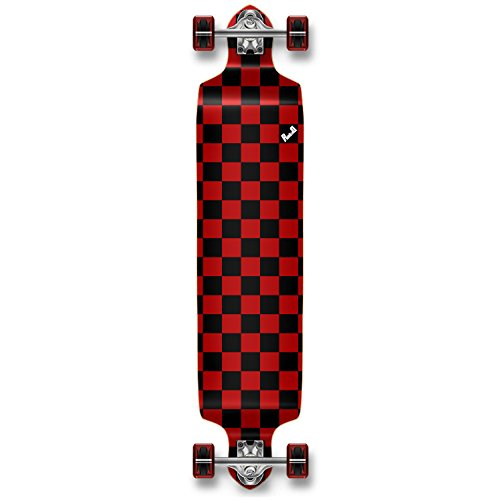 Yocaher Checker Graphic Professional Speed Drop Down Stained Complete Longboard (Checker Red)