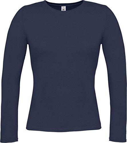 B&C - Camiseta de manga larga - para mujer azul marino