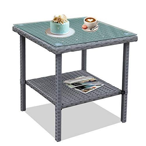 (Patio Side Table Coffee Table Tea Table Grey Rattan Outdoor Indoor Square Table Balcony Small End Table)
