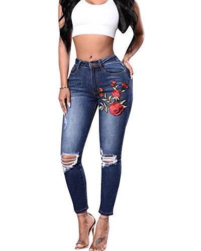 Vita Fiori Leggings Pantaloni Marino Ricamati Ginocchio Jeans Donne Alta Strappato Blu UOqw5