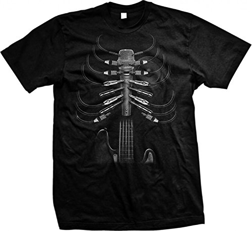 (Cool Music T Shirt Amped Up Guitar Rib Cage Mens Tee S-5XL (Black, XL))