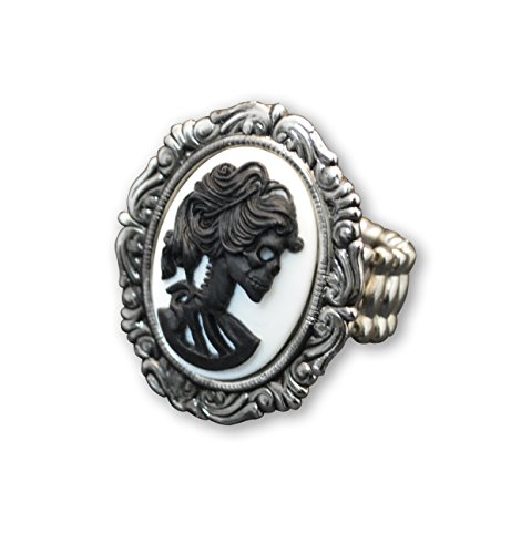 Real Metal Lolita Skull Cameo Ring Adjustable Black and White in Silver Finish