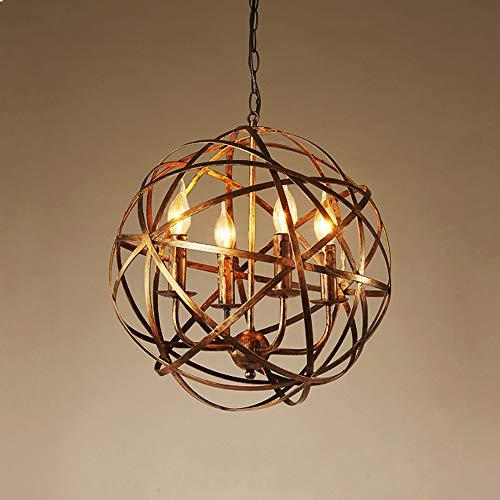 Industrial Vintage Retro LOFT Style Pendant Light Orb Chandelier Rustic Aged Brass Wrought Iron Metal Globe Cage Round Pendant Lamp Fixture use 4 E12 Bulbs - Pendant Chandelier Orb