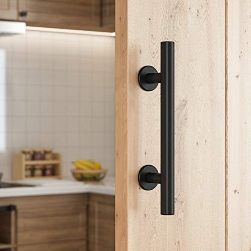 SMARTSTANDARD 10 Heavy Duty Barn Door Pull Handle for Gate Kitchen Furniture Cabinet Closet Drawer, Black