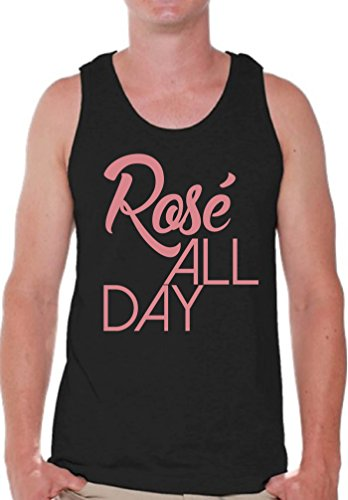 Pekatees Rosé All Day Tank Top for Men Funny Drunk Muscle Shirt Wine Tank Top Black M - Day Tank Top