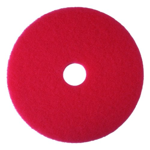 "3M Red Buffer Pad 5100, 12"" Floor Buffer, Machine Use (Case of 5)"