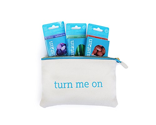 Sustain Gift Set: Non-toxic Latex Condoms and Organic Cotton ''Turn Me On'' Condom Pouch by Sustain