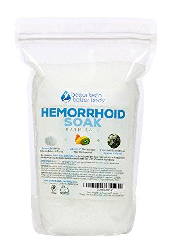 Hemorrhoid Sitz Bath Soak 2 Pounds Size (32 Ounces) - Epsom Salt With Juniper & Niaouli Essential Oils And Vitamin C Crystals - Bath Salts For Hemorrhoid Treatment - All Natural No Perfumes No Dyes