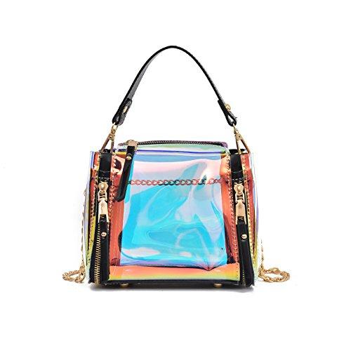 Black De Groupe Un Chaîne D'Été D'Emballage KLXEB Transparent Forfait Petite Sac Fille Jelly Unique Plastique Laser Avec Sac D'Épaule De Forfaits En 6ZnnY1Fwq