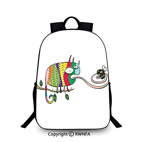 3D printing Customized school bag,Colorful Chameleon on the Branch Playing with Grumpy Fly Animal Humor Cartoon Reptiles Decor Travel College School Bags Multi