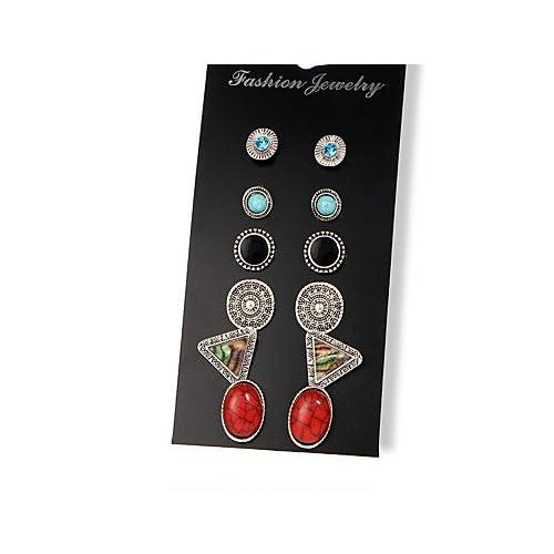 MJW&EH Femme 12pcs Boucles d'oreille goujon Turquoise Strass Classique Rétro Mode Résine Alliage Triangle Forme de Cercle Forme de Feuille Ovale
