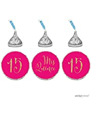 Andaz Press Gold Glitter Print Chocolate Drop Labels Stickers, Mis Quince Sweet 15 Birthday Quinceanera, Fuchsia, 216-Pack, Not Real Glitter, for Kisses Party Favors