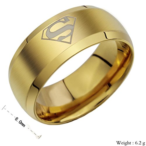 Mens Rings Stainless Steel Superman Hero Triangle S Mark Golden Polish Bands 8MM Size 10 by Aienid