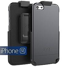 iPhone SE Holster Belt Clip Case, (SlimSHIELD Series) Ultra Slim Hybrid Shell + Durable Protection (Apple iPhone SE 5 5S) (Smooth Black)