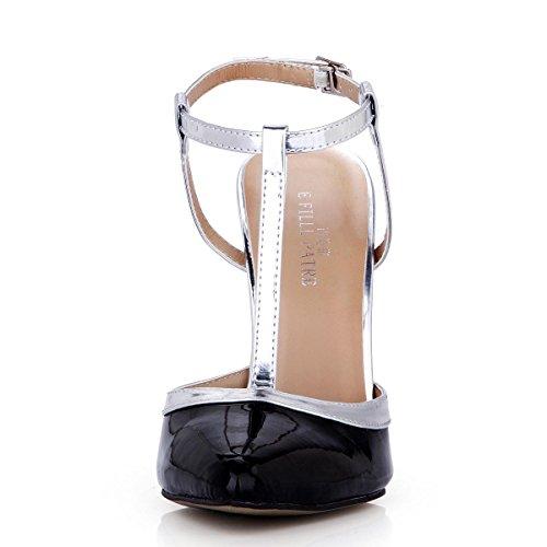 Best 4U® Sandali con cinturino a T in PU da donna con specchio a vita estiva Punta a punta 12CM Tacchi alti Suola di gomma Scarpe con fibbia Un nastro