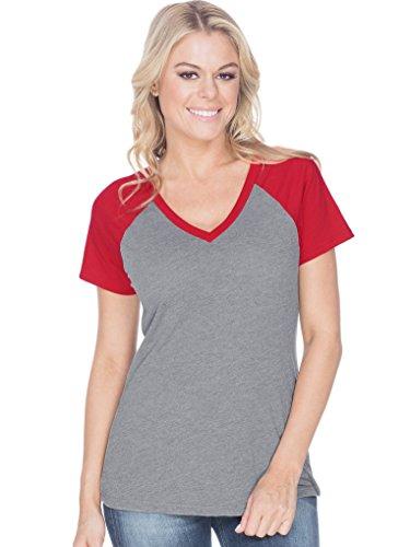 Kavio! Women Sheer Jersey Contrast V Neck Raglan Short Sleeve