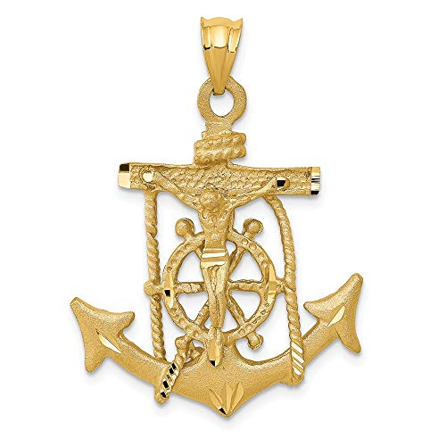 - Jewel Tie 14K Yellow Gold Mariners Cross Pendant - (1.57 in x 1.02 in)
