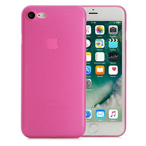 iPhone 8 / 7 Hülle, Arktis Federleichte Schutzhülle matt pink-transparent