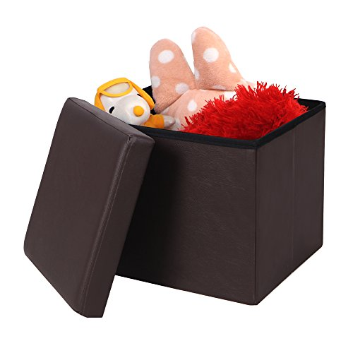 Songmics Faux Leather Folding Storage Ottoman Cube Foot