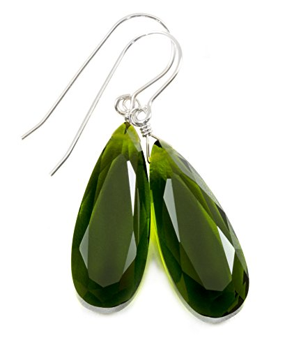 Olive Quartz Earrings - Sterling Silver Green Olive Simulated Quartz Earrings Faceted Teardrops Simple Dangle Drops 1.7
