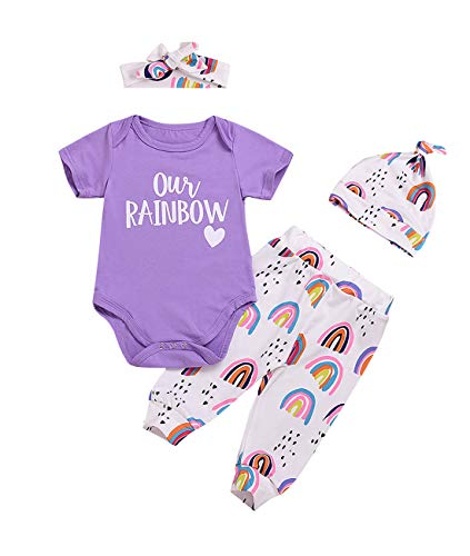 Infant Toddler Baby Girl Rainbow Print Romper + Pants + Hat + Headband 4PCS Outfit Set (12-18 Months, Our's Rainbow)