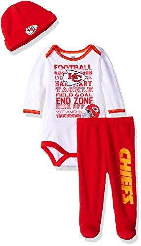 Gerber Childrenswear NFL Kansas City Chiefs Bodysuit, Pants & Cap Set, 3-6 Months, Red
