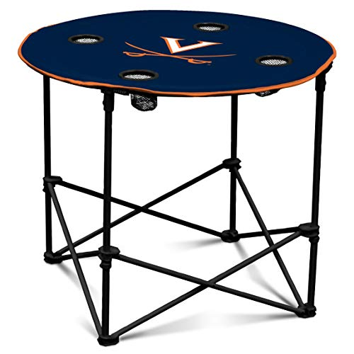 Virginia Cavaliers Collapsible - Virginia Cavaliers Collapsible Round Table with 4 Cup Holders and Carry Bag