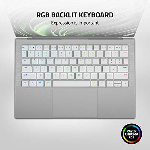 "Razer Book 13 Laptop: Intel Core i7-1165G7 4 Core, Intel Iris Xe, 13.4"" UHD+ Touch (3840 x 2100), 16GB RAM, 512GB PCIe M.2, CNC Aluminum, Chroma RGB, Thunderbolt 4, Intel Evo Certified, Mercury White"