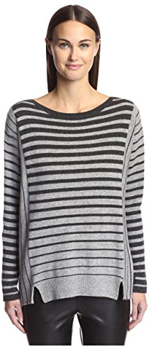 - James & Erin Women's Cashmere Striped Boat Neck Sweater, Charcoal/Granite, XS
