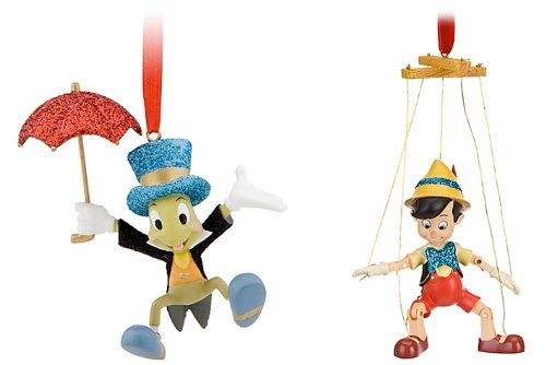 DISNEY Puppet Pinocchio and Jiminy Cricket  with Umbrella Set of 2 Christmas Tree Ornaments (Marionette Pinocchio)