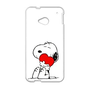 Personality customization TPU Case with Charlie Brown and Snoopy HTC One M7 Cell Phone Case White