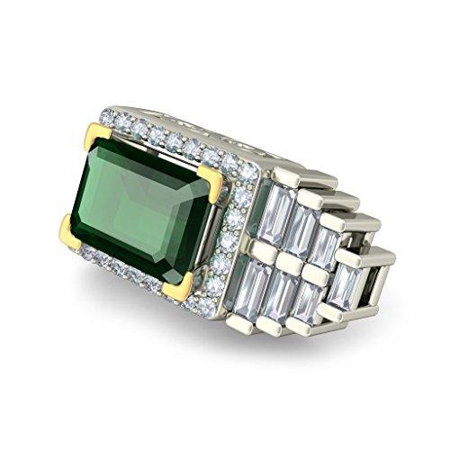 Or blanc 14K 0,67CT TW White-diamond (IJ | SI) et Boucles d'Oreille à tige Émeraude