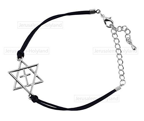 Black STRING Star of David cross Rhodium Bracelet Messian...
