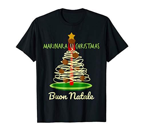 Marinara Christmas Spaghetti and Meatballs Buon Natale Pasta Tree T-Shirt