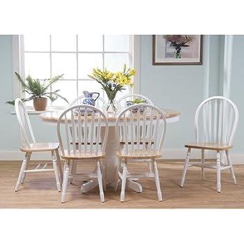 TMS 7 Piece Farmhouse Dining Set, White/natural