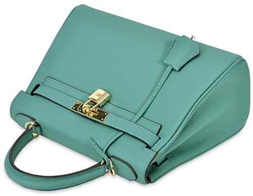 Green Handbag Shoulder Handbags Handle Top Women's Cross Kiss Body Padlock Cherish Lake Satchel qT7wSXxwB