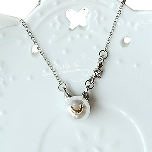 Cosplay Japan Anime Luna Cat Necklace Women Girl Cute Pearl Pendant Chain PTK09 (White)