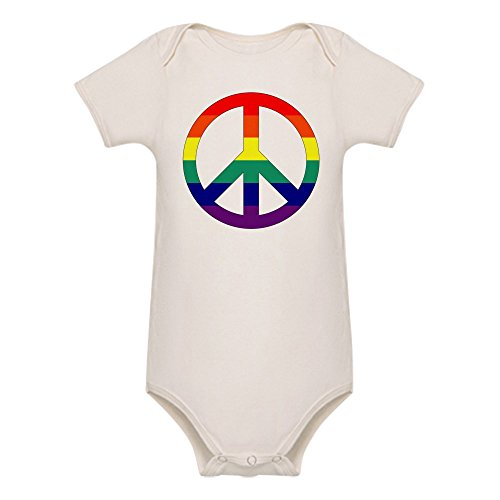 - Royal Lion Organic Baby Bodysuit Rainbow Peace Symbol Sign - 12 to 18 Months