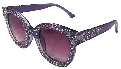 MAOLEN Round Oversized Gradient Shades Crystal Sunglasses for Women (round purple frame brown (Crystal Brown Gradient Sunglasses)